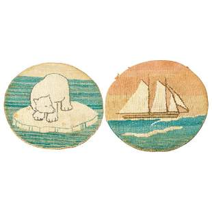 Two Antique Grenfell Labrador Hand Knotted Mats, c1920