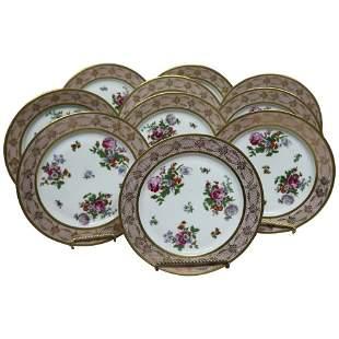 10 Antique Bavarian Tirschenreuth  Porcelain Plates