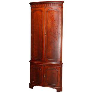 Antique English Georgian Flame Mahogany Corner Cabinet