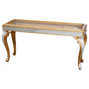 French Louis XIV Style Mirrored Glass Top Sofa Table