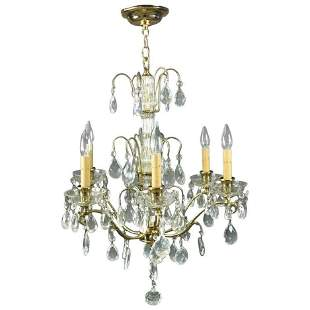 Vintage French 6-Light Bronze & Cut Crystal Chandelier