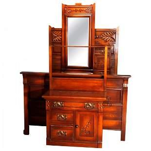 Victorian 3 Piece Eastlake Chip Carved Oak Bedroom Set