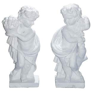 Fiske School Cast Iron Classical Cherub Garden Statues