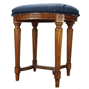 French Louis XVI Fruitwood & Needlepoint Stool, 19th C