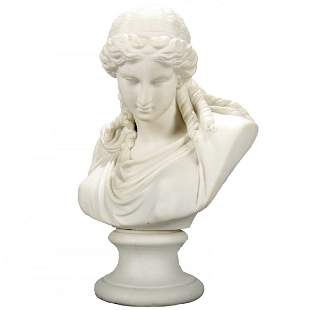 Victorian Classical Parian Grecian Bust of a Woman