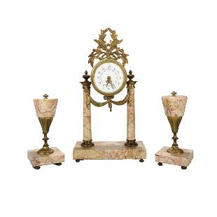 French Louis XVI Rouge Marble & Bronze Garniture Set