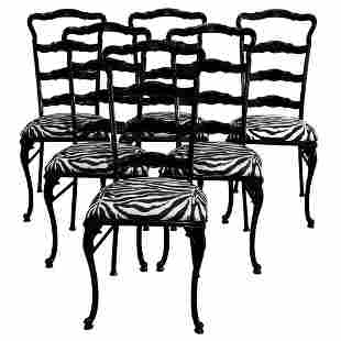 6 MCM Tall-Back Ebonized and Animal Print Dining Chairs