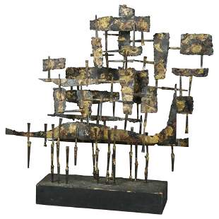 Mid-Century Modern Brutalist Metal Sculpture, c 1960