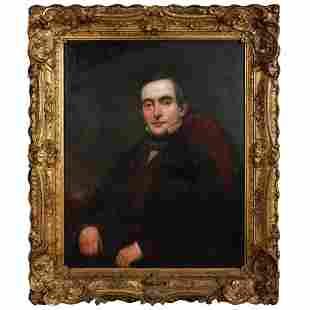 Large Antique Portrait Oil Painting of JD Hoyt 1870