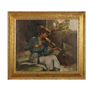 Impressionistic Oil on Canvas Painting of Violinist