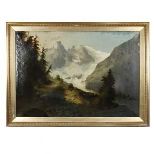 Antique Oversized Landscape Painting, Mountains, c 1900
