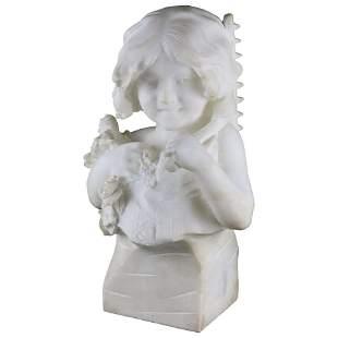 Large Italian Alabaster Bust Sculpture, Girl & Flowers