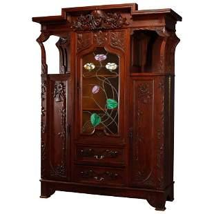 Art Nouveau Sarah Bernhardt Leaded Glass Bookcase