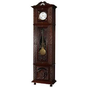 French Figural High Relief Deeply Carved Oak Tall Clock