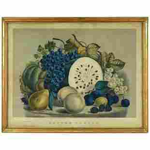 Currier & Ives Still Life Lithograph in Gilt Frame