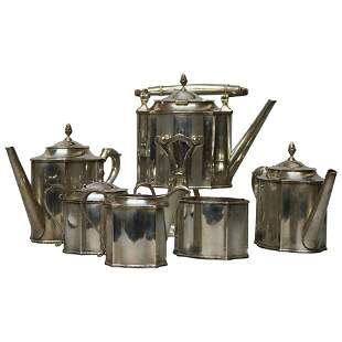 Arts & Crafts BH Hand Wrought Sterling Coffee & Tea Set