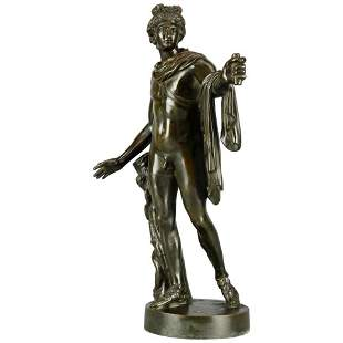 Neoclassical Bronze Apollo Sculpture Signed Zofoli