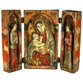 High Relief Carved Triptych Russian Orthodox Icon,18thC