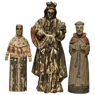 Three Spanish Polychromed Carved Wood Santos Figures