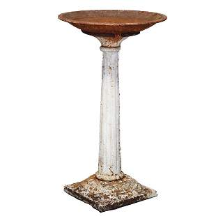 Antique Victorian Cast Iron Garden Bird Bath, c 1900