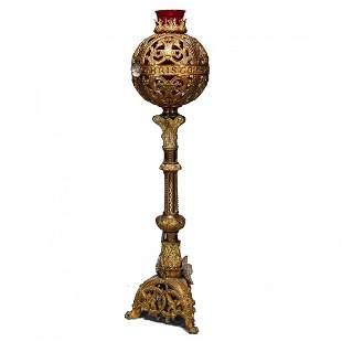 Gothic Gilt Bronze Figural Monstrance Candelabra