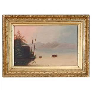 Antique Thomas Chambers School Folk Art Oil Painting