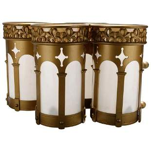 4 Gilt Metal Gothic Cylinder Double Socket Wall Sconces