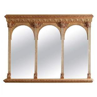 Classical Giltwood Triptych over Mantle Mirror, 20th C