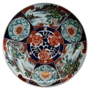 Japanese Imari Porcelain Charger w Landscape Scenes
