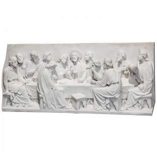 3-D Massive Italian Marble Sculpture Last Supper 600lbs