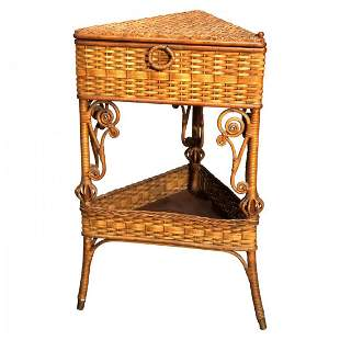 Victorian Heywood Wakefield Wicker Corner Sewing Stand
