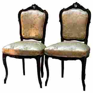 Pair of Louis XV Style Carved Walnut Parlor Side Chair