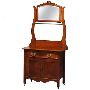 Victorian Carved Oak Hotel Commode with Bar & Mirror