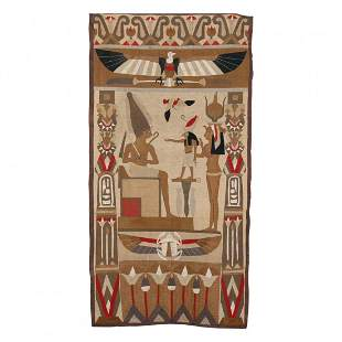 Egyptian Revival Wall Tapestry with Figures & Eagle
