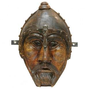 Folk Art Carved Wood Portrait, Mask of Thor, Signed