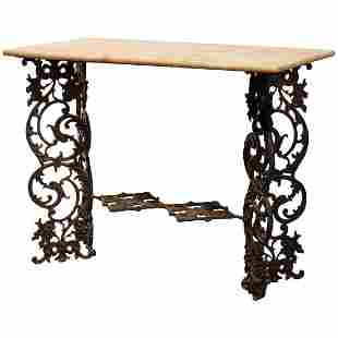 Antique Victorian Cast Iron and Marble Garden Table