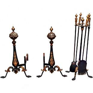 Lg Louis XV Ebonized & Gilt Wrought Iron Fireplace Set
