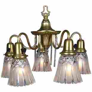 Neoclassical Style Five-Light Gilt & Crystal Chandelier