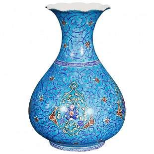 Persian Moorish Hand Enameled Metal Vase, Artist Signed