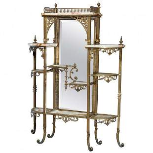 Antique French Victorian Bronze & Onyx Mirrored Etagere