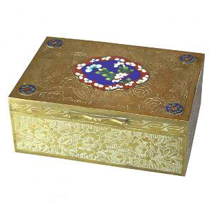 Chinese Brass Dresser Box with Cloisonné Panels