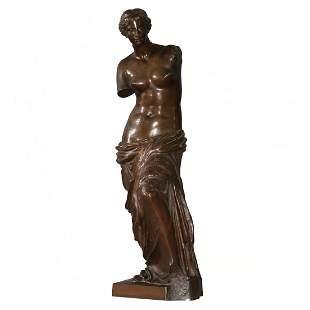 Large Venus De Milo Bronze Sculpture, by Sauvage c1890