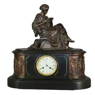 Antique Tiffany & Co. Figural Bronze Slate Mantle Clock