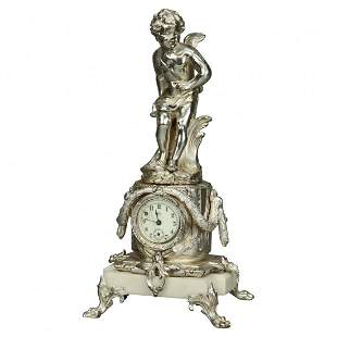 Neoclassical Jennings Silver Gilt/Marble Figural Clock