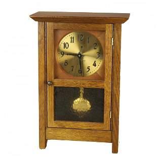 Arts & Crafts Mission Oak Stickley Mantle Clock, 20th C