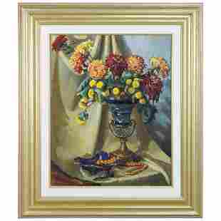 Large Vintage Still Life Painting, Vase of Flowers