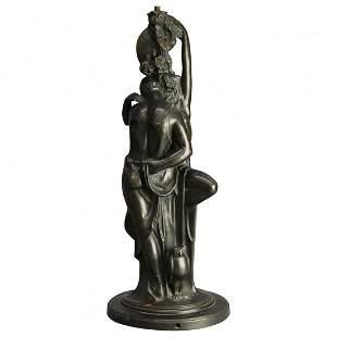 Art Deco Figural Paul Herzel Bronzed Clad Lamp Base