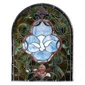 Leaded Stained Glass Window with Dove, c1910