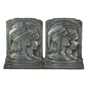 Art Deco Dantes & Beatrice Pompeian Bronze Bookends