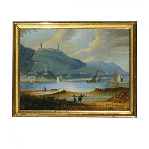 Antique Thomas Chambers Painting, Neversink River,19thC